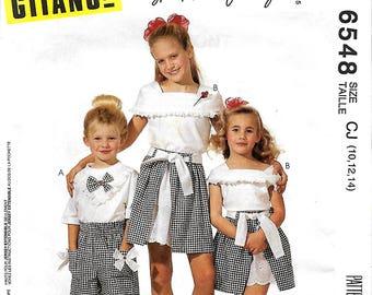 McCall's 6548 Gitano Girls T-Shirt, Top, Skirt And Shorts Pattern, 10-12-14, UNCUT