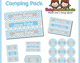Camp Pack - Personalized Waterproof Labels Shoe Labels Clothing Tag Labels Bag Tags Daycare Labels Name Labels - Blue and Grey Chevron