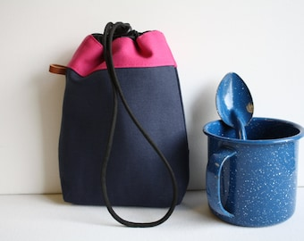 Belt Loop String Pouch  - midnight blue + hot pink