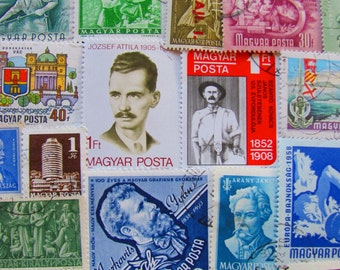Budapest Or Bust Baby 50 Vintage Hungarian Postage Stamps Philately Hungary Magyar Posta Central Europe Danube Vas Zala European Philately