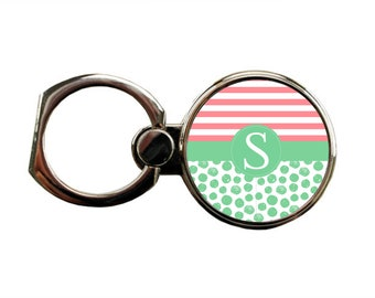 Mint Green Swirls and Pink Stripes  - Personalized Round Ring Phone - Holder - Stand - Personalize Yours Now!