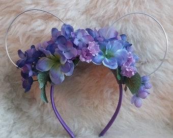 Purple Flower Crown Mouse Ears