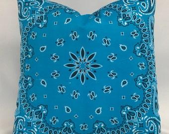 Pillow Cover - Bandana Pillow - Western Pillow - Turquoise Bandana Pillow - Invisible Zipper - Fully Lined Pillow - 18 x 18 - 20 x 20