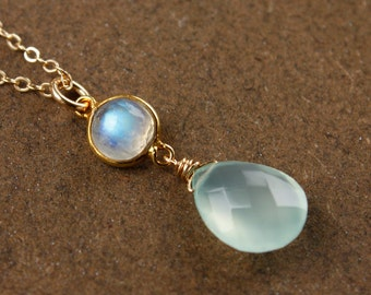 Gold Aqua Chalcedony Necklace - with Rainbow Moonstone, June Birthstone - 14K GF
