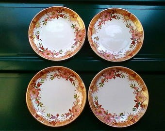 4 smaller Tea Plates - Vintage French Digoin Sarreguemines plates