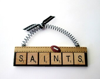 Saints Football Scrabble Tile Ornaments