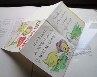 Vintage Greeting Card * 1950's Card * Missing You * Keep in Touch Greeting Card * Chicks *