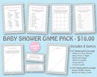 Pink Blue Baby Shower Game Pack - 70% OFF -PRINTABLE Shower Games- 8 Pack - Gender Reveal Party - L Gray Pastel Pink Pastel Blue 22-20-15