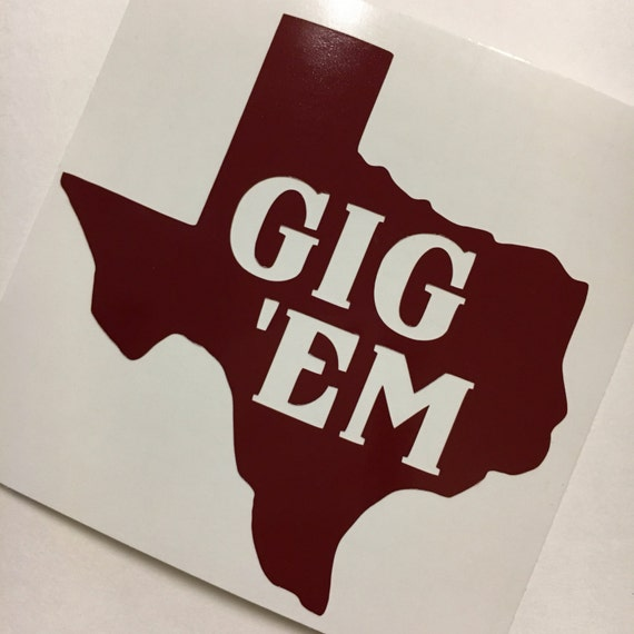Texas am sticker texas aggies vinyl tamu decal gig em