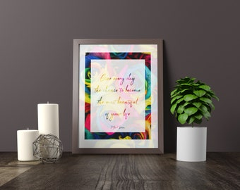 """Mark Twain Quote """"Give every day the chance to become the most beautiful of your life"""", Printable Digital Download."""