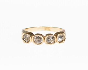 Vintage Bezel Set Cubic Zirconia Gold Plated Band Ring