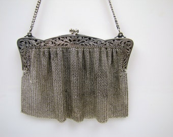 1920s Art Deco Flapper German Silver Chainmaille Mesh Purse. Antique Bridal Wedding Evening Handbag.  Cut Out Engraved Frame.  Signed CF