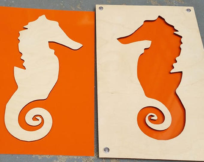 Seahorse from Plywood and Recycled Aluminum in orange