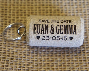 "Personalised engraved ""Save the Date"" Cork Keyrings"" - Sold as bags of 20 cork keyrings (20 being the minimum order)"