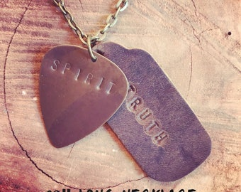 """Long 30"""" Necklace with Metal Guitar Pick and Leather, Handstamped with SPIRIT and TRUTH"""