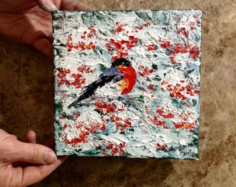 Christmas Small Painting Bullfinch Oil Painting Rowan Painting Christmas Miniature Canvas Christmas Gift New Year Gift Winter Painting Snow