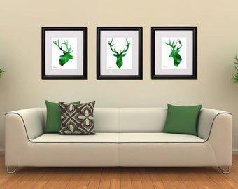 Green deer art Instant Download, 16x20 emerald green stag set digital art, deer head watercolor print, deer head silhouette, deer painting