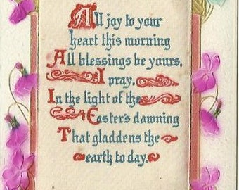 Easter Greetings with Poem On Silk and Bright Purple Airbrushed and Embossed Violets decorate this Antique Postcard from 1914 Ephemera