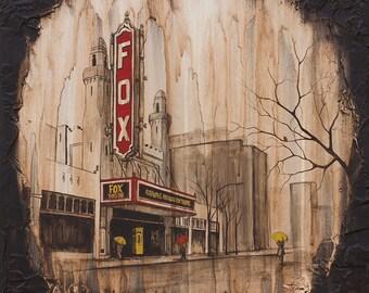 Fox Theater Painting, Atlanta Painting, City Art Print, Rain Art Print, titled Fox Theater, Limited Edition Print on Paper