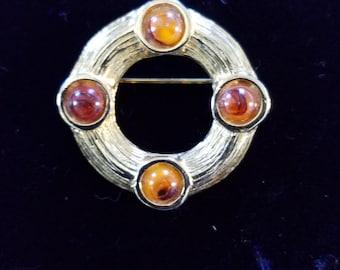Vintage Costume Circle Brooch Pin