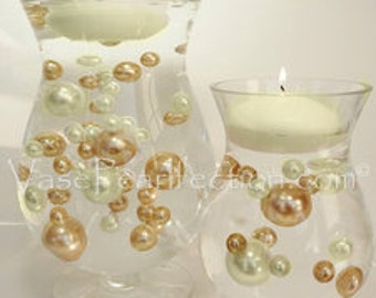 Ivory & Gold Pearls - Jumbo/Assorted Sizes Vase Fillers for Centerpieces