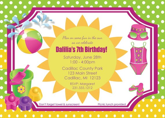 Very Kids Birthday Party Invitations Girls Birthday Invite Fun IK23