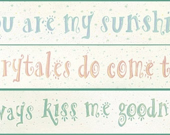 Polka Dot Baby Nursery - Child's Room Quotation Art Prints by Donna Atkins. You are my sunshine. Always kiss me goodnight. Fairytales.