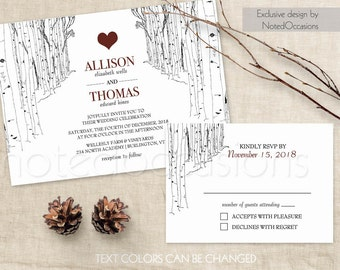 Birch Tree Wedding Invitation Set Rustic Wedding Invitations Winter Wedding Birch Trees Christmas wedding Custom DIY Digital Printable Files