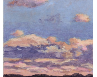 October Sunrise  - Original Landscape Painting on Canvas 8x8 Sun Sky Clouds Low Horizon