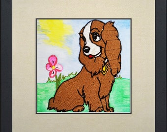 Silk painting of a sweet dog