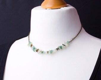 Green Gemstone chip necklace - Jade, Aventurine and Unakite bronze chain necklace | Simple gem chip necklace | Chipstone jewelry