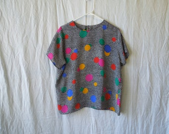 80s Funky Colorful Polka Dot T-Shirt