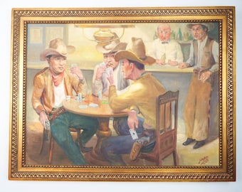 Vintage Signed Western Cowboy Oil on Canvas Painting Gunslinger F Van Aken 1966, Unique Large Wall Hanging Men Playing Cards, Man Cave Decor