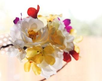 wedding hair accessories, white bridal hairpiece, wedding headband, flower hair accessory
