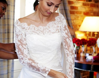 Lace Bridal Bolero - Custom Alencon Lace Off Shoulder Bolero