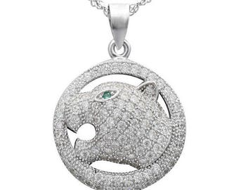 925 sterling silver Zircon Leopard Pendant Clear CZ Micro Pave Crystal Animal Full Rhinestone Paved Leopard Head charm Cubic Zirconia