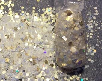 Glitter mix Nail Art Acrylic Gel    White Gold