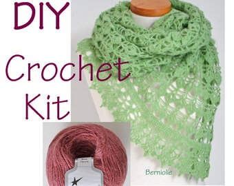 DIY Crochet Kit, Crochet shawl kit, BELLA, ORCHID, yarn and pattern