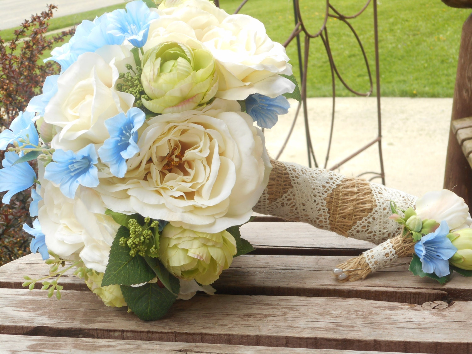 Rustic Wedding Bouquet / Ivory Blue and Green Silk Bridal