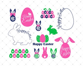 Easter SVG Cut Files, Easter Bunny SVG, Easter Monogram SVG, Easter Egg svg, cut files for Cricut, files for Silhouette, svg cut files