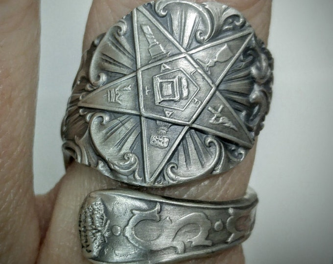 O.E.S. Spoon Ring, Order of the Eastern Star, Masonic Freemason, Sterling Silver, Ruth FATAL, Custom Ring Size, Order of Eastern Star (1540)