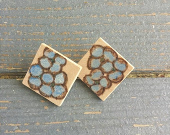 Floral Wood Diamond Shaped Wood Stud Earrings Blue