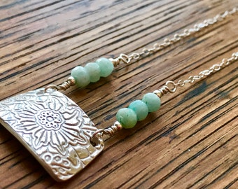 Fine Silver PMC Floral Pendant with Pale Blue Amazonite Beads and Sterling Silver Chain