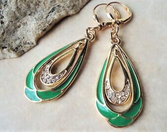 Multi Color Hoop Earrings.Emerald Green.Painted.Jeweled.Gold.Enamel.Statement.Bridal.Tear Drop.Vintage.Bohemian.Formal.Holiday.Handmade.