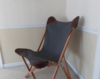 Tripolina Folding Chair with Canvas and Leather Cover