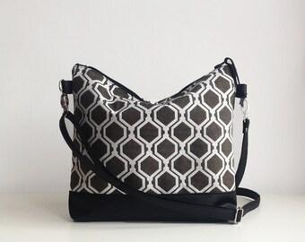 Geometric Print Crossbody bag, Hexagon print, Shoulder bag, Everyday bag, Messanger bag, Large crossbody bag