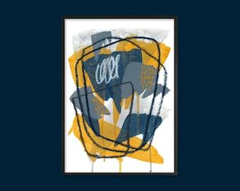 Printable Abstract Art   Modern Wall Art   Mustard yellow Ochre, grey, dark blue   Home Decor   Scandi   Instant download   Various sizes
