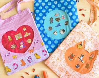 Heart Eyes Ita Tote PDF Pattern // Instant Digital Download, Bag, Sewing, Tutorial, Instructions, DIY, Enamel Pin, Easy, Badge, Window, Cat