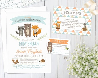 WOODLAND BABY SHOWER Invitation | Digital | Invite with forest animals, creatures, fox, deer, hedgehog, racoon | gender neutral | diy print