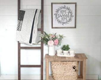 Blanket Ladder 6 ft 5 ft 4 ft / White Brown Natural / Modern Ladder / Quilt Ladder / Ladder Decor / Farmhouse Rustic Ladder / Towel Ladder